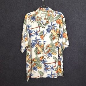 Tommy Bahama Silk Button Down Hawaii Girl Shirt